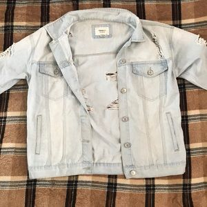 Bleached ripped denim jean jacket